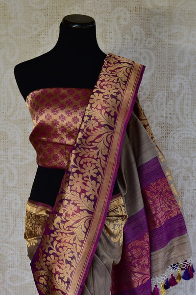 90D217 Purple Majenta & Grey Tissue Benarasi Saree