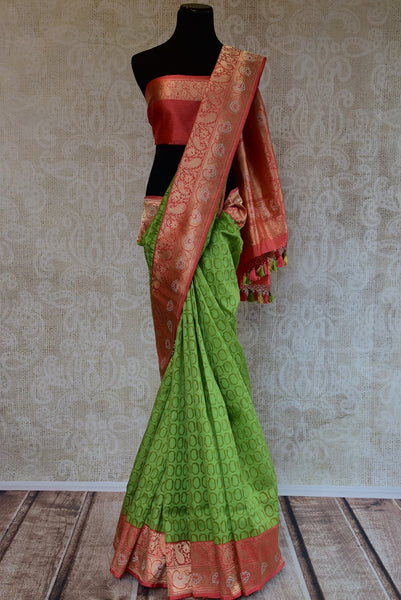 90D218 Green & Pink Silk Benarasi Saree