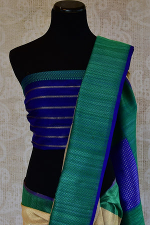 90D221 Off White & Blue-Green Tissue Benarasi Saree