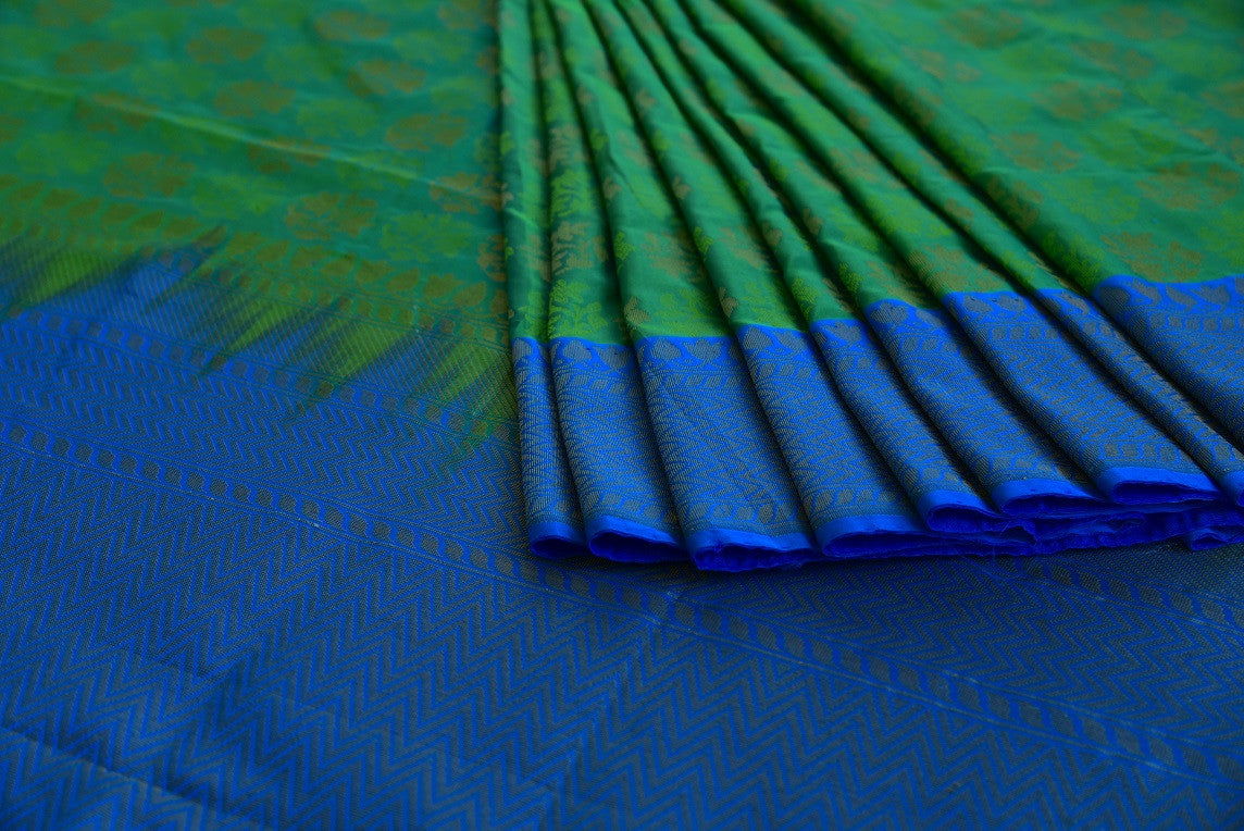 90D223 Blue & Green Silk Benarasi Saree