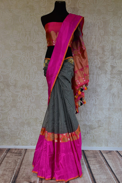 90D232 Checked Black & White Tissue Benarasi Saree With A Pop of Rani Pink