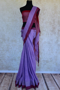 90D241 Shop lavender and maroon linen Indian sari with maroon pallu online in USA. This Indian linen sari can be a party wear, or a casual wear sari. Buy this saree online at our ethnic clothing store in Pure-Elegance in USA.