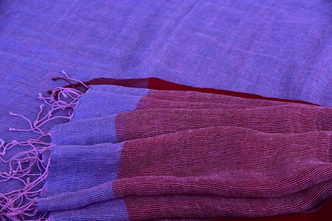 90D241 Simple Lavender & Purple Linen Saree