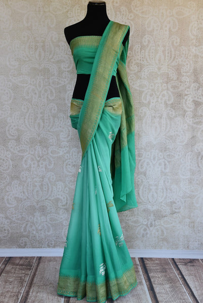 90D258 Sea Green Georgette Benarasi Saree