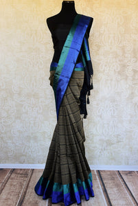 90D261 Black Grey & Blue Tussar Silk Saree With Resham Work