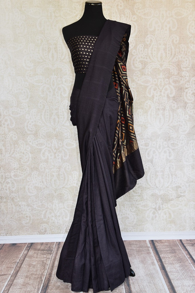 Our very famous tussar georgette saree also called moonga silk. Perfect flowy material saree with ethnic feel.-full view