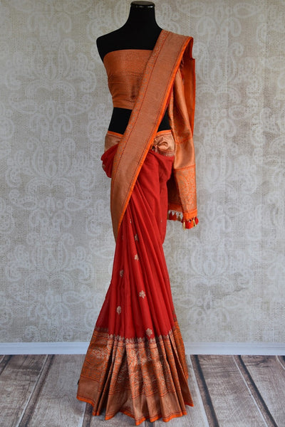 Red linen saree with banarasi zari buta on body with orange banarasi pallu and border. Ideal for Indian wedding-party. -Full view