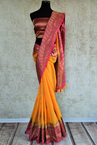 90D271 Linen Banarasi - yellow and orange