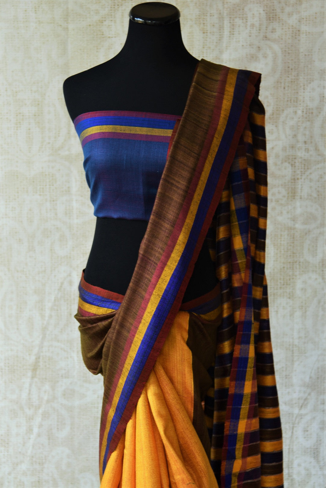 90D279 Multi-color tussar / pashmina silk - brown
