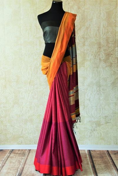 Multicolor pink pashmina silk and tussar mix saree with yellow pallu. Grab this saree for your ethnic wear.-full view
