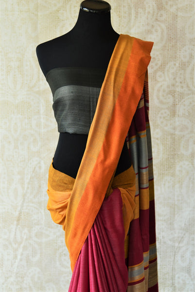 Multicolor pink pashmina silk and tussar mix saree with yellow pallu. Grab this saree for your ethnic wear.-yellow pallu