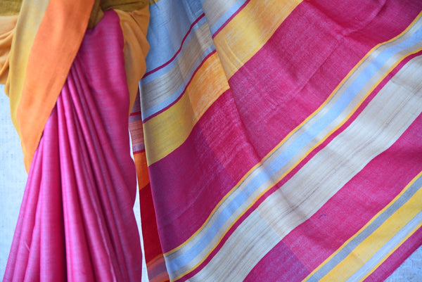 Multicolor pink pashmina silk and tussar mix saree with yellow pallu. Grab this saree for your ethnic wear.-striped pallu