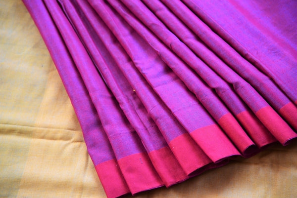 Multicolor pink pashmina silk and tussar mix saree with yellow pallu. Grab this saree for your ethnic wear.-close up