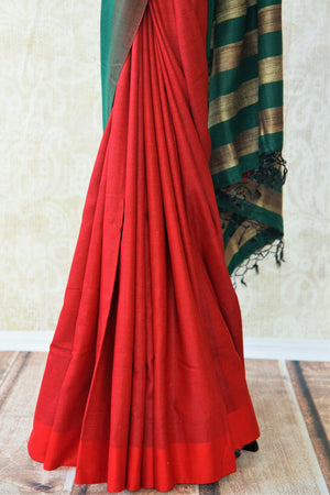 Multicolor red pashmina silk and tussar mix saree with green/gold striped pallu. Grab this saree for your ethnic wear.-pleats