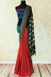 Multicolor red pashmina silk and tussar mix saree with green/gold striped pallu. Grab this saree for your ethnic wear.-Full view