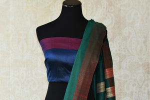Multicolor red pashmina silk and tussar mix saree with green/gold striped pallu. Grab this saree for your ethnic wear.-pallu