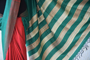 Multicolor red pashmina silk and tussar mix saree with green/gold striped pallu. Grab this saree for your ethnic wear.-striped pallu