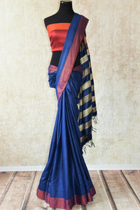 Multicolor blue pashmina silk and tussar mix saree with orange striped pallu. Grab this saree for your ethnic wear.-full view