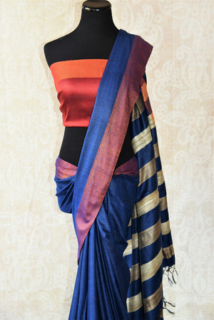 Multicolor blue pashmina silk and tussar mix saree with orange striped pallu. Grab this saree for your ethnic wear.-striped pallu