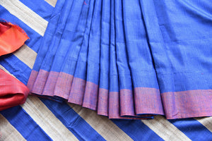 Multicolor blue pashmina silk and tussar mix saree with orange striped pallu. Grab this saree for your ethnic wear.-close up