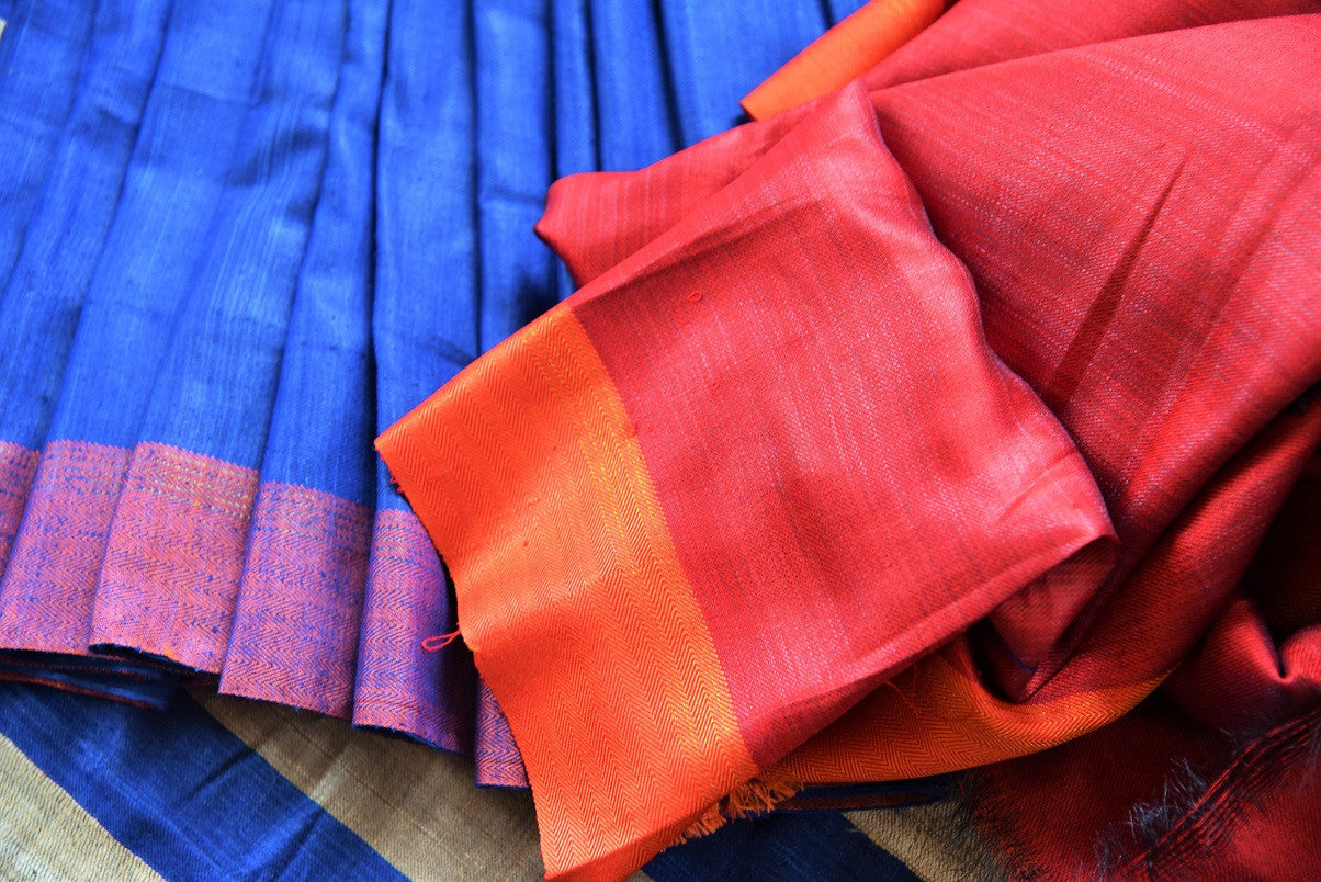 Multicolor blue pashmina silk and tussar mix saree with orange striped pallu. Grab this saree for your ethnic wear.-multicolor