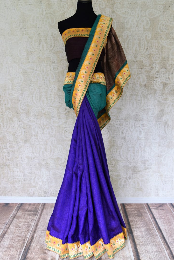 Buy blue and green Pashmina saree online in USA with khaddi Banarasi border from Pure Elegance online store. Visit our exclusive Indian clothing store in USA and get floored by a range of exquisite Indian Kanjivaram saris, Banarasi sarees, silk sarees, Indian jewelry and much more to complete your ethnic look.-full view
