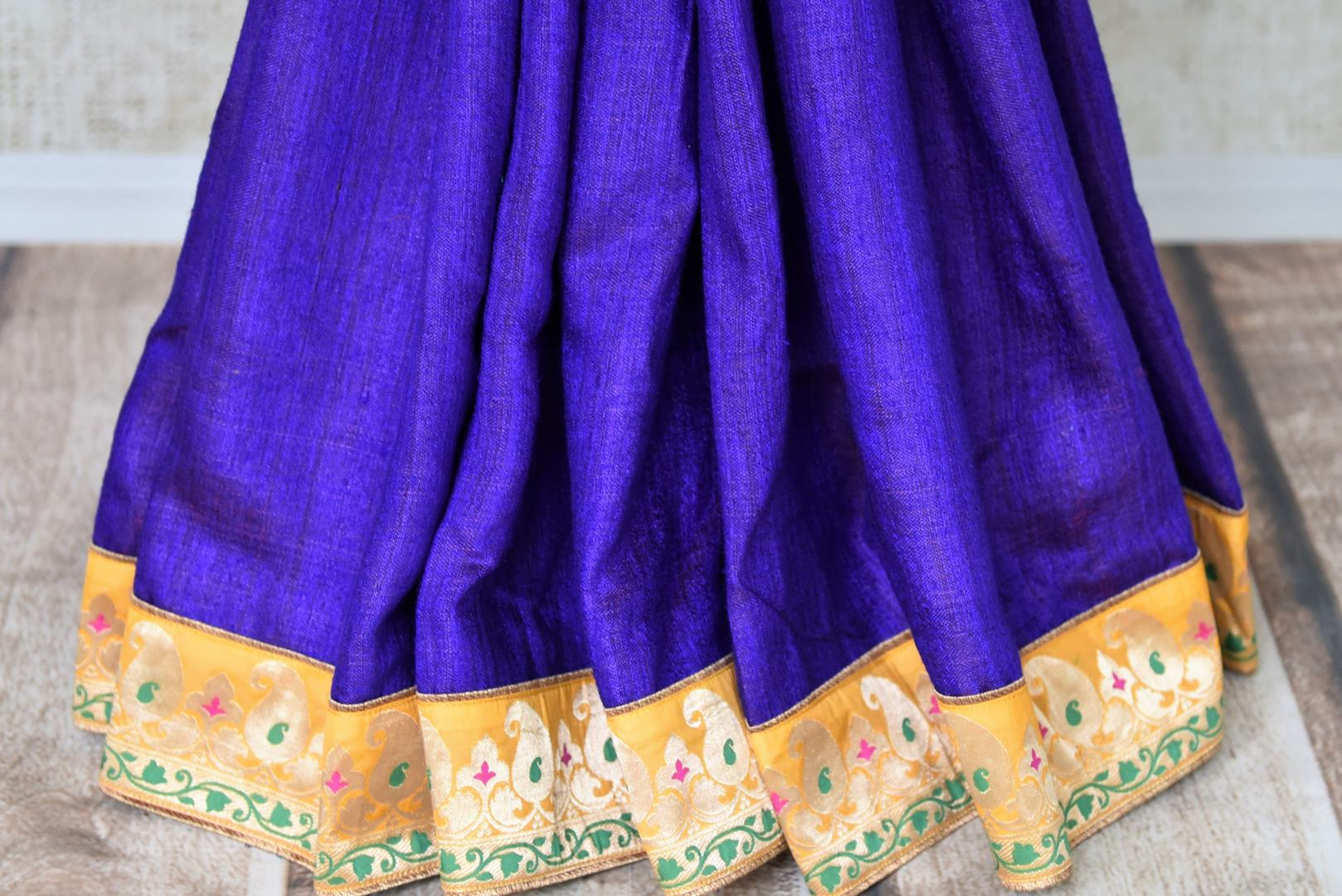 Buy blue and green Pashmina saree online in USA with khaddi Banarasi border from Pure Elegance online store. Visit our exclusive Indian clothing store in USA and get floored by a range of exquisite Indian Kanjivaram saris, Banarasi sarees, silk sarees, Indian jewelry and much more to complete your ethnic look.-pleats