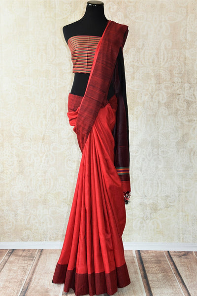 Red pashmina silk saree.This Bhagalpur saree perfect for Indian events like pujas and festivals. Ideal Ethnic collection.-Full view