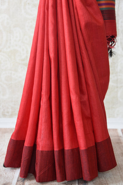 Red pashmina silk saree.This Bhagalpur saree perfect for Indian events like pujas and festivals. Ideal Ethnic collection.-pleats