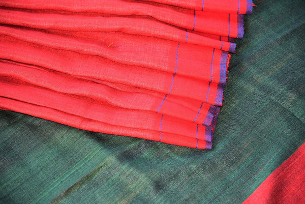 90D290 Multi-color tussar / pashmina silk - green-red