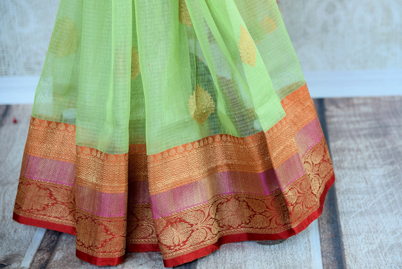 90D292 Light Green Benarasi Indian Saree With Red Border