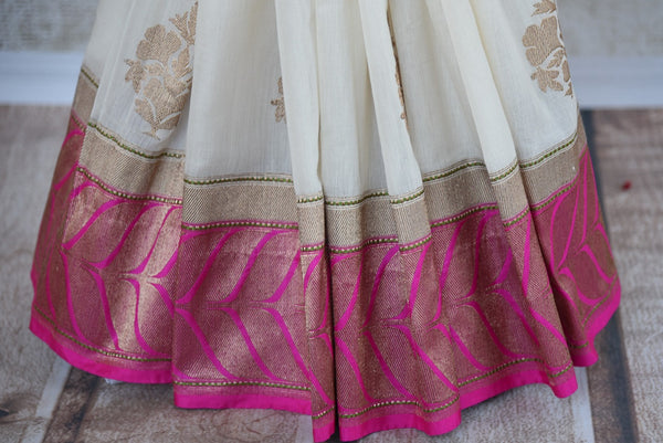 90D294 White Pink & Golden Benarasi Indian Saree Online