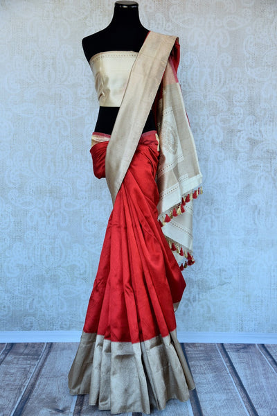 90D296 Indian traditional Benarasi woven sari best suited for any engagement, wedding or reception. Shop it online or at the Pure Elegance store in Edison.