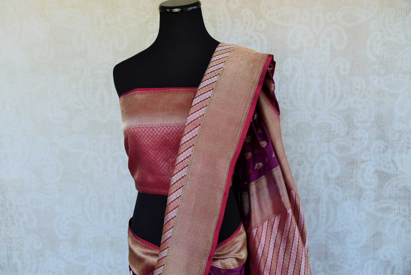 90D301 Purple Benarasi Indian Saree with Golden Border