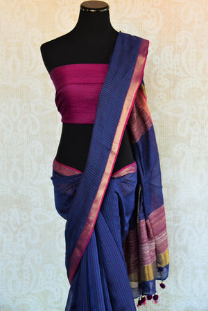90D303 The woven matka silk sari with kantha stitch is ideal for any wedding, engagement or Indian party. It can be availed both online and at the store in Edison. Close up