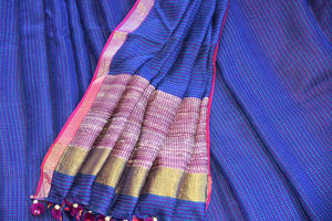 90D303 The woven matka silk sari with kantha stitch is ideal for any wedding, engagement or Indian party. It can be availed both online and at the store in Edison. navy blue and golden
