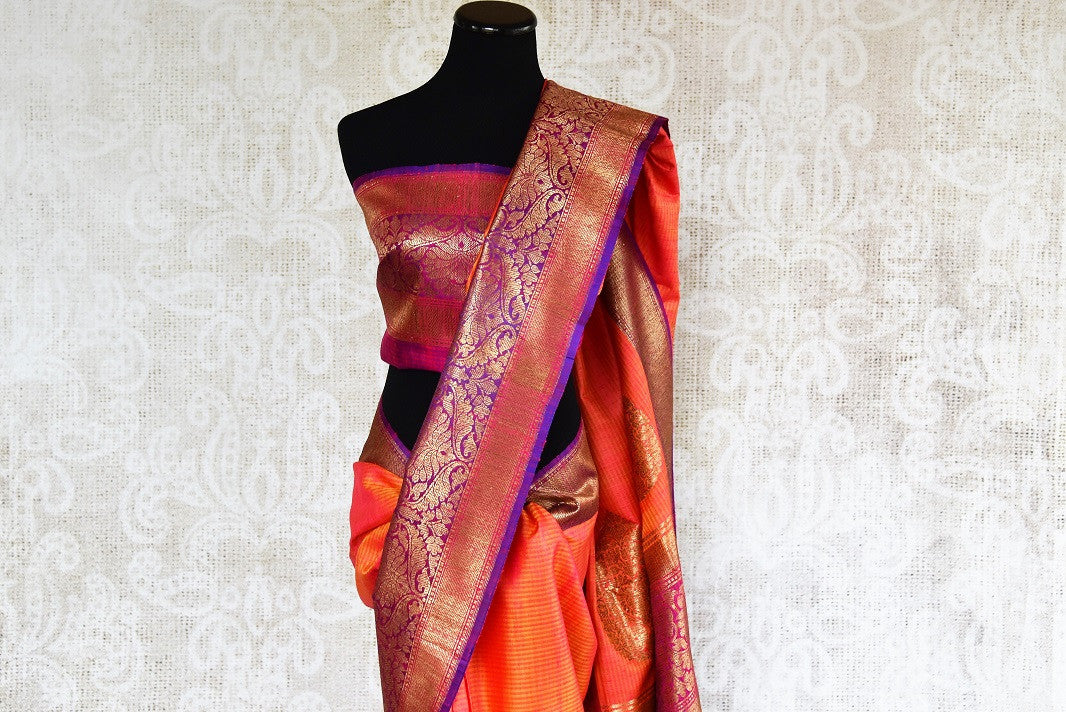90d311 Want to buy traditional Indian outfit online? Come to our online ethnic wear store in USA to buy this orange muga tussar Banarasi saree that is ideal for Indian weddings and festive occasions.