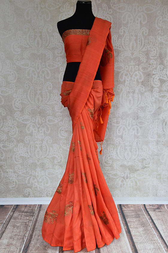 Buy this elegant orange muga tussar banarasi silk Indian saree with printed design from Pure Elegance store with blouse piece. Great for parties and festivals-Full View