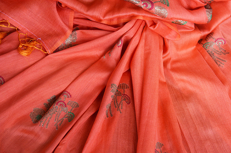 Buy this elegant orange muga tussar banarasi silk Indian saree with printed design from Pure Elegance store with blouse piece. Great for parties and festivals-Close Up