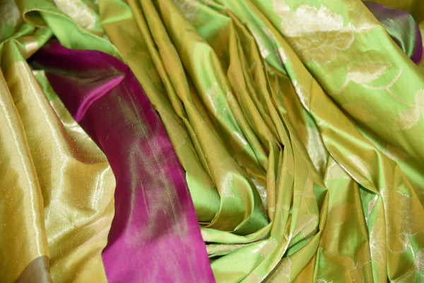 90D378 Silk Banarasi floral saree available at our ethnic clothing store in USA. The green saree with a contrasting maroon border is a great outfit for Indian weddings & receptions.