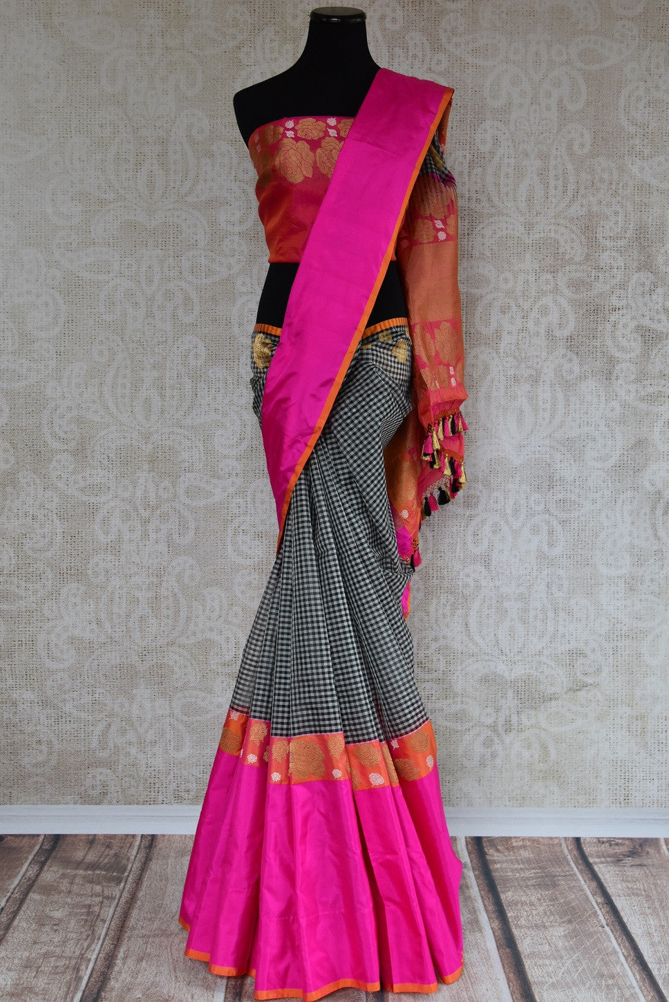 Shop this traditional Indian black and pink organza banarasi saree online or from our store in USA. Perfect for any wedding, reception, sangeet or engagement party. Front View.