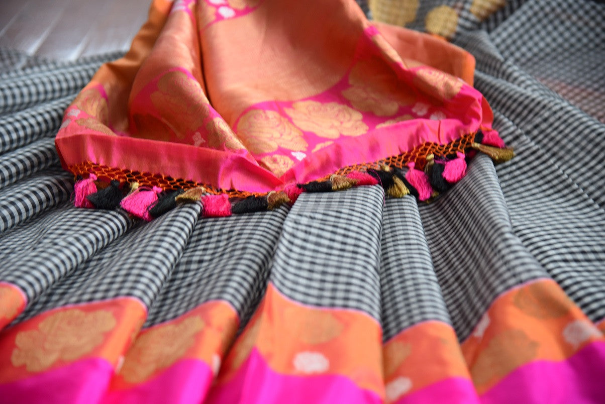 Shop this traditional Indian black and pink organza banarasi saree online or from our store in USA. Perfect for any wedding, reception, sangeet or engagement party. Close up.