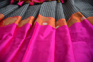 Shop this traditional Indian black and pink organza banarasi saree online or from our store in USA. Perfect for any wedding, reception, sangeet or engagement party. Pink and Orange.