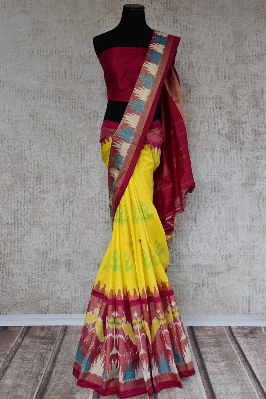 Pure Elegance brings Indian traditional ikkat silk saree at our store in Edison near NJ or online. Perfect for any wedding, reception, sangeet or engagement party. Front View.
