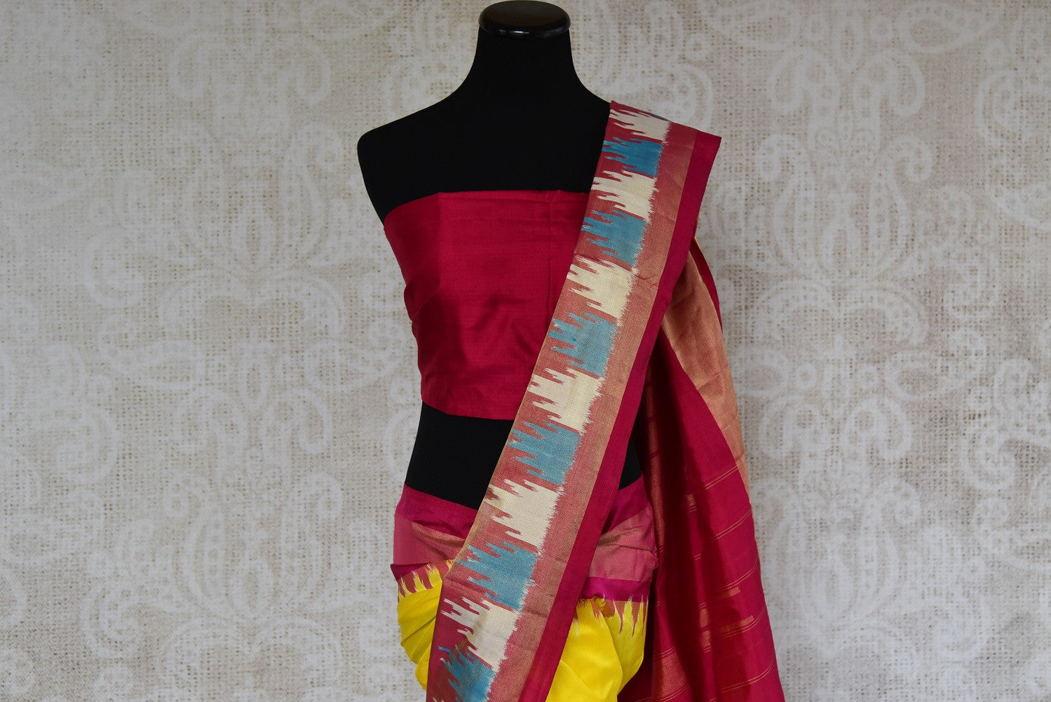 Pure Elegance brings Indian traditional ikkat silk saree at our store in Edison near NJ or online. Perfect for any wedding, reception, sangeet or engagement party. Top View.