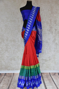Shop this Indian traditional ikkat silk saree from Pure Elegance online or from our store in USA. Perfect for any wedding, reception, sangeet or reception party.  Front View.