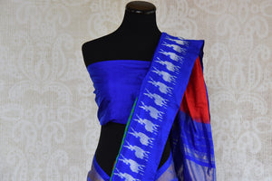 Shop this Indian traditional ikkat silk saree from Pure Elegance online or from our store in USA. Perfect for any wedding, reception, sangeet or reception party. Close Up.