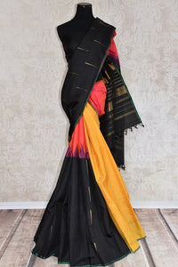 Shop this Indian traditional kanjivaram saree from Pure Elegance online or from our store in USA. Perfect for any wedding, reception, engagement, sangeet party. Front View.