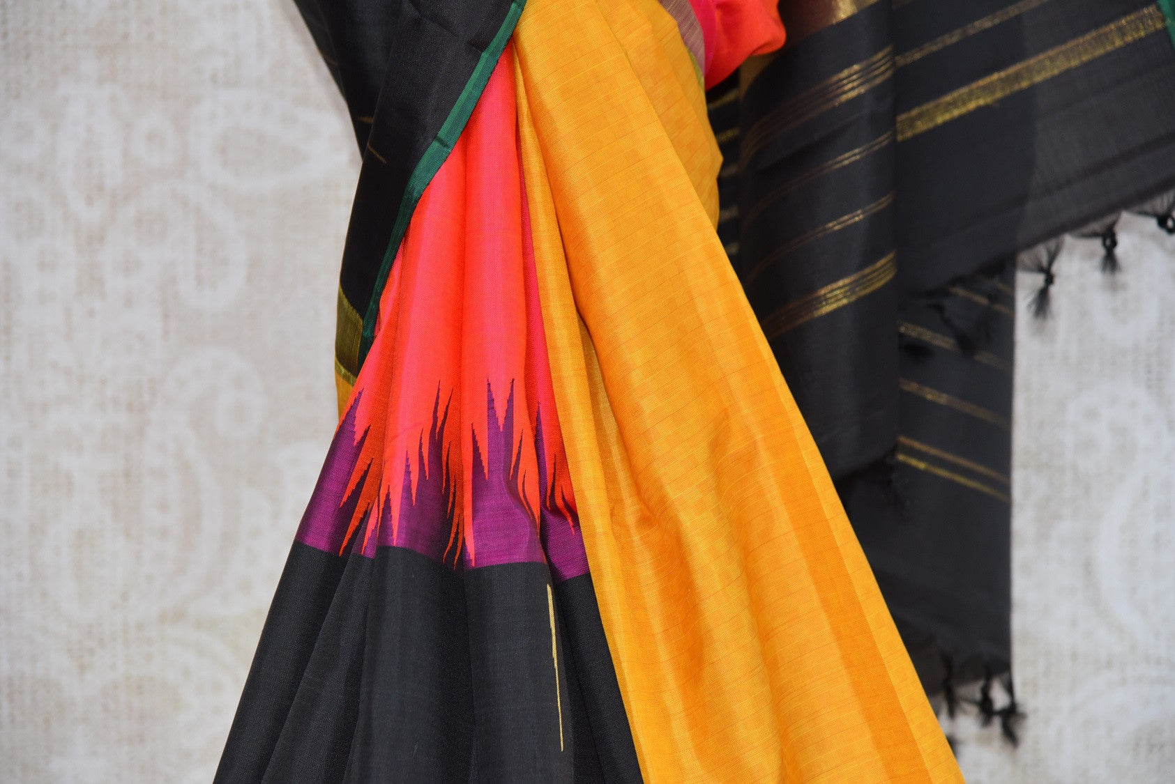 Shop this Indian traditional kanjivaram saree from Pure Elegance online or from our store in USA. Perfect for any wedding, reception, engagement, sangeet party. Multicolored Pallu.