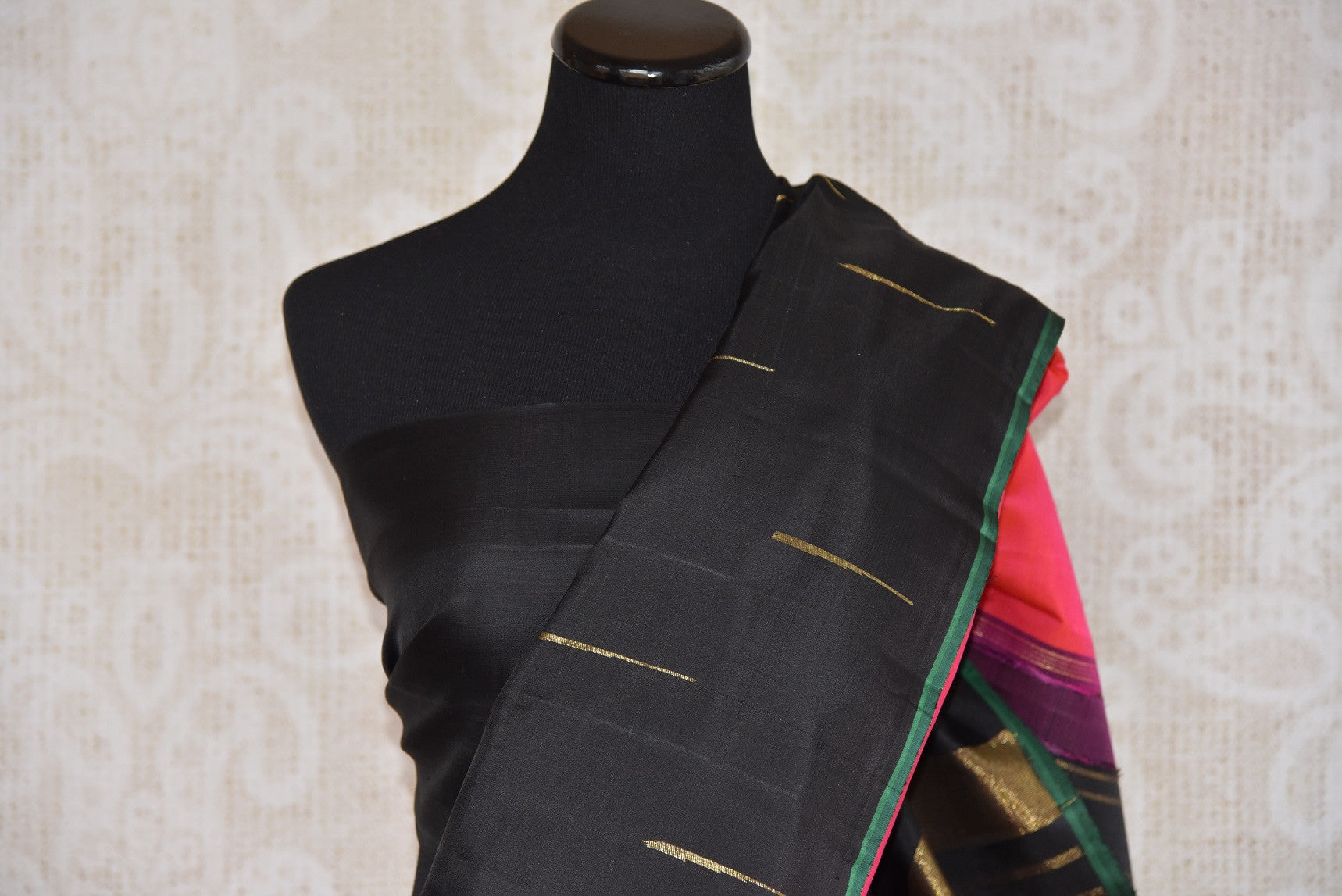 Shop this Indian traditional kanjivaram saree from Pure Elegance online or from our store in USA. Perfect for any wedding, reception, engagement, sangeet party. Black Saree.